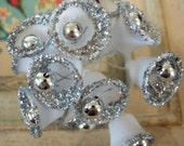 Vintage / Plastic Bells / White with Silver Glitter / Twelve Stems / Made in Japan / Corsages / Silver Wedding Anniversary