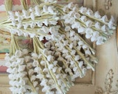 Vintage Millinery / Lily of the Valley / Cotton Fabric Flowers / Five Bunches / Aged White