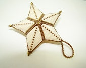 Beaded Cream and Bronze Star Ornement Dimensional