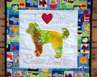 Golden Doodle Dog Quilted Wall Hanging, I Love My Golden Doodle, Dog Silhouette, Dog Art