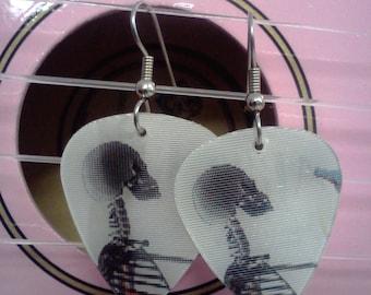 Drinking Skeleton guitar pick earrings
