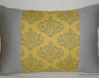 Decorative-Accent-Throw Pillow Cover-Free US Shipping-12 x 18 inch Mustard and Gray Damask Accented with Gray Panels