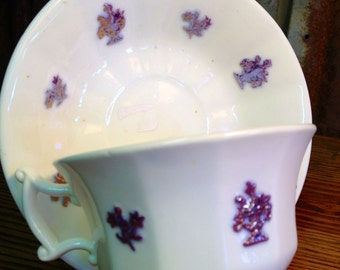 1800's English Chelsea Tea Cup and Saucer Lustre England 1800s China