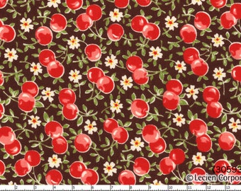 Old New 30's - Cherries On Brown - By Lecien - 9.85 per yard