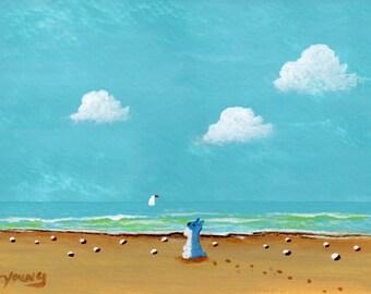 Schnauzer Dog folk art PRINT of Todd Young painting Sea Shells