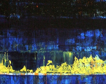 SALE Modern Abstract Outsider LARGE Folk Art PRINT of Todd Young painting Blue & Yellow