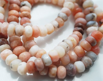 Half / Full Strand, Pink Peruvian Opal Faceted Rondelles, 6-7x4MM