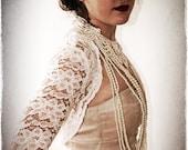 Long Sleeve Lace Bridal Shrug - Vintage Inspired Wedding Lace Bolero in Ivory