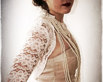 Long Sleeve Lace Bridal Shrug - Vintage Inspired Wedding Lace Bolero in Ivory