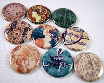 "1"" Flat Back Steampunk Buttons, Cabochons 12 Count"