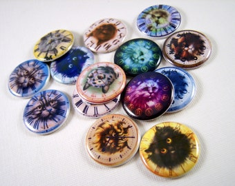 """1"""" Flat Back Cat Clock Button Cabochons 12 Count"""