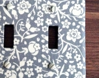 Double Standard Light Switch Plate Cover - gray with cream flowers