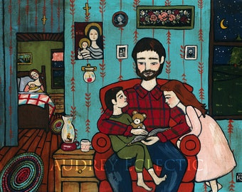 PRINT Bedtime Story folk art family painting
