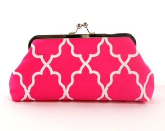Bridesmaid Clutch, Pink White Wedding Clutch, Bridal Clutch Purse, Personalized Bridesmaid Gift