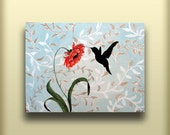 Hummingbird On a Red Orange Flower...Abstract Contemporary Modern Bird Art Diptych Painting by HD Greer