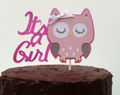 Owl Baby Shower Decorations - It's a Girl Owl Cake Topper - Baby Hoot Theme Woodland Cake Centerpiece -Pink & Grey or ANY Color It's a Girl