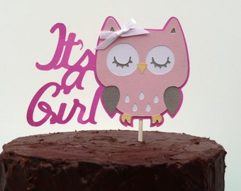 Owl Baby Shower Decorations   Itu0027s A Girl Owl Cake Topper   Baby Hoot Theme  Woodland