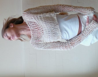 Ivory cropped sweater / Neutral linen / cotton cropped grunge thumb hole sweater