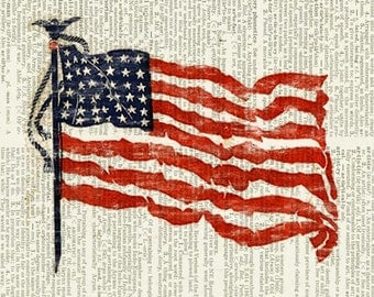 American Flag on vintage dictionary page