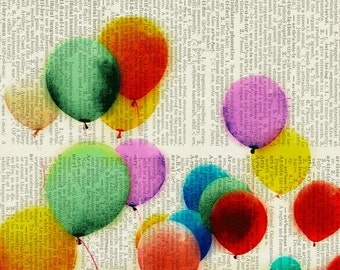 balloons dictionary page print