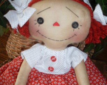 Primitive Raggedy Ann INSTANT DOWNLOAD PATTERN #154 Button Eyed Annie Hafair Faap
