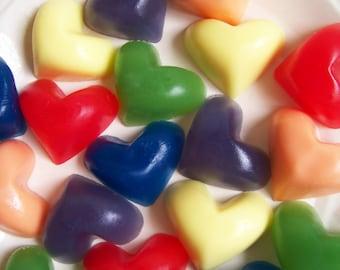 Rainbow Heart Soap Set - Rainbow Soap, Heart Soap, Soap Favors, Watermelon Soap, Colorful Soap, Kids Bath Soap, Bright soap, Love, Hearts
