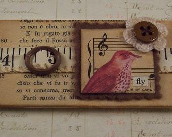 Collage Art Bird Magnet - Mixed Media Altered Art Magnet - Sparrow Bird Refrigerator Magnet - Hand Made Office Supply