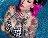 Houndstooth Black and white  Retro Pin up high waist bikini swimsuit size xs-xl