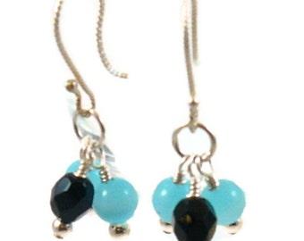 Aqua Fiber Optic Earrings E-044