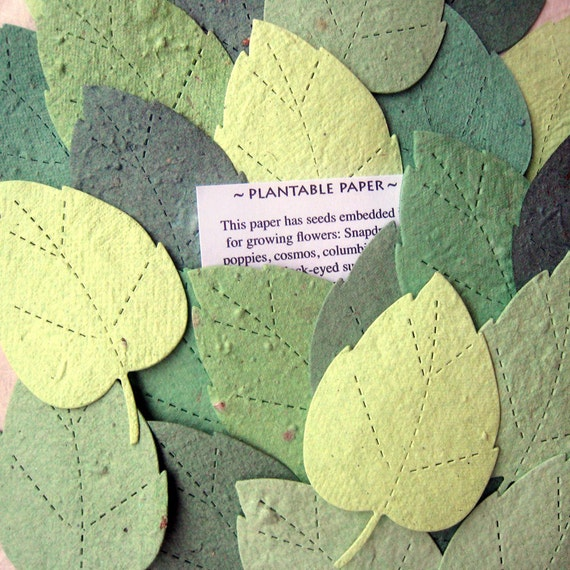 200 Seed Rustic Garden Wedding Favors - Seed Paper Leaves Plantable Paper Leaf Wedding Favor - DIY Place Cards - Flower Seed Birch Leaves