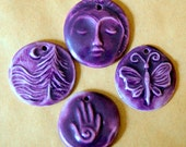 4 Handmade Porcelain Deep Purple Beads - Hamsa Bead - Butterfly Bead - Dragonfly Bead - beadfreaky