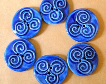 6 Handmade Celtic Buttons - Triskele Buttons in Rich Blue Gloss