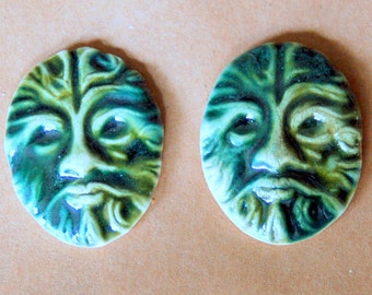 2 Handmade Ceramic Mosaic tiles - Celtic Greenman Cabochons in Deep Moss Green by Beadfreaky