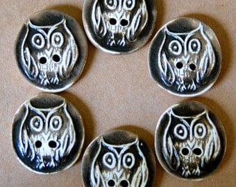 6 Handmade Ceramic Buttons - Owl Buttons in Chocolate Brown - Rustic Stoneware Buttons by Beadfreaky