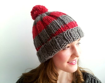 Handknit Gray and Red Hat in Alpaca and Wool. Stripes, Chunky. Cozy Winter Hat.