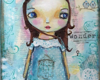 Original painting, Girl painting, Mixed media, Folk Art girl, Blue, Whimsical art, Children's art, home decor, cute