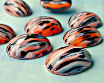Four Vintage Czech 18x13mm Orange Black and White Striped Glass Cabochons (47-17F-4)