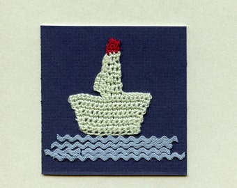 Crocheted boat on a greeting card  THE BOAT 1, crochet, assemblage  sky blue  sea foam  red  wall art  just frame it