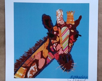 Orange Giraffe Limited Edition Print from Original Painting Collage