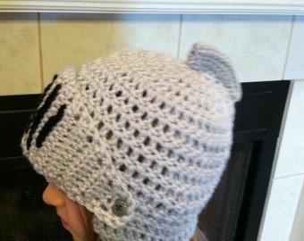 Knight Helmet with Adjustable Visor Crochet Beanie Skullcap Hat -fun costume idea