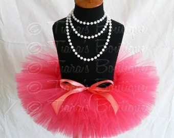 Coral Pink Baby Tutu - Baby Toddler Girls Tutu - Sewn Infant Tutu - Ready To Ship - sizes newborn up to 12 months - Photo Prop