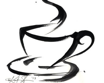 Brushstroke Coffee Cup ... Series No.3 ... Original Abstract Minimalist  Painting by Kathy Morton Stanion EBSQ