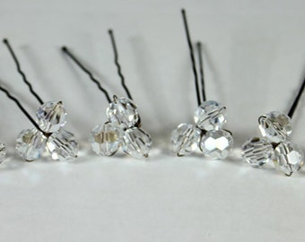 6 Crystal Moonlight Hairpins, Set of 6, Clear Crystal with shimmery twinkle, bobby pin, wedding hair jewelry accessories, accessory