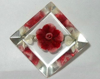 Vintage Lucite Brooch Reverse Carved Flower and Leaves Red Pink and White