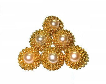 Vintage Faux Pearls Cast Metal Buttons x6 Signed