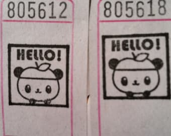 Panda with an Apple Hat HELLO Vintage Style Hand Stamped Carnival Tickets