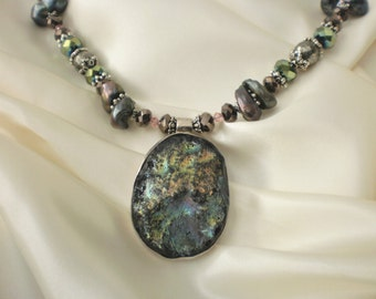 Druzy Necklace with Earrings