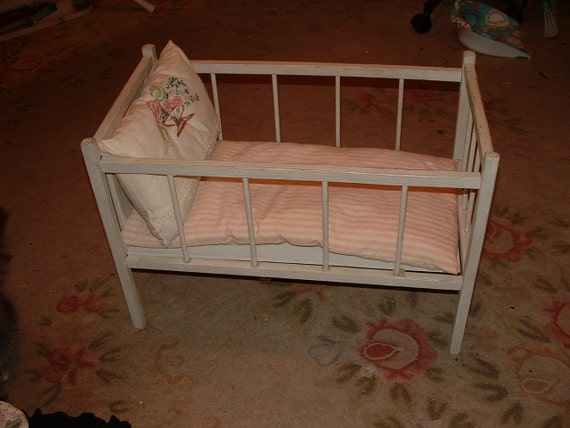 Antique Doll Crib Baby Doll Bed 1920s With Mattress Amp Pillow