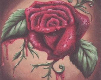 Bleeding Red Rose ACEO Flower Aceo Rose ATC Fantasy Art Gothic Art