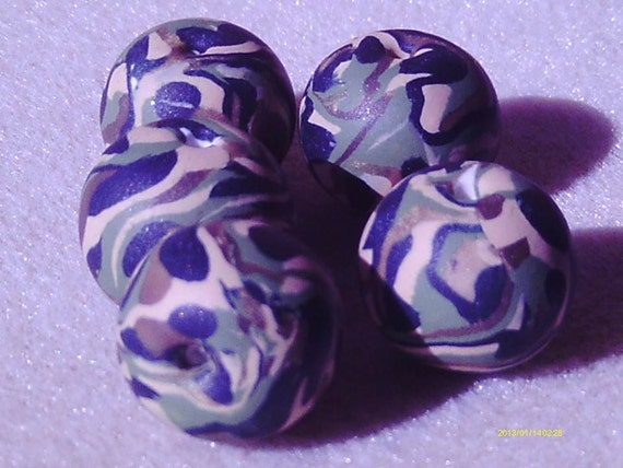 Camouflage Green Beads -5- Polymer Clay arts